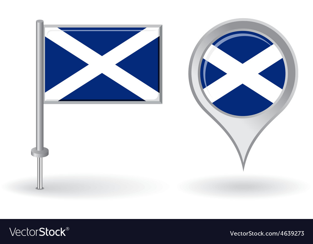 Scottish pin icon and map pointer flag vector | Price: 1 Credit (USD $1)