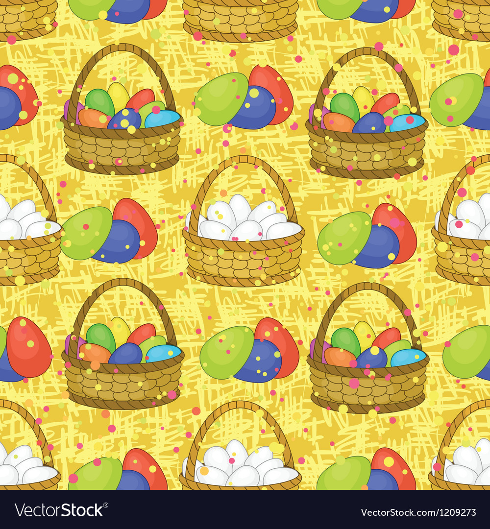 Seamless basket with easter eggs vector | Price: 3 Credit (USD $3)