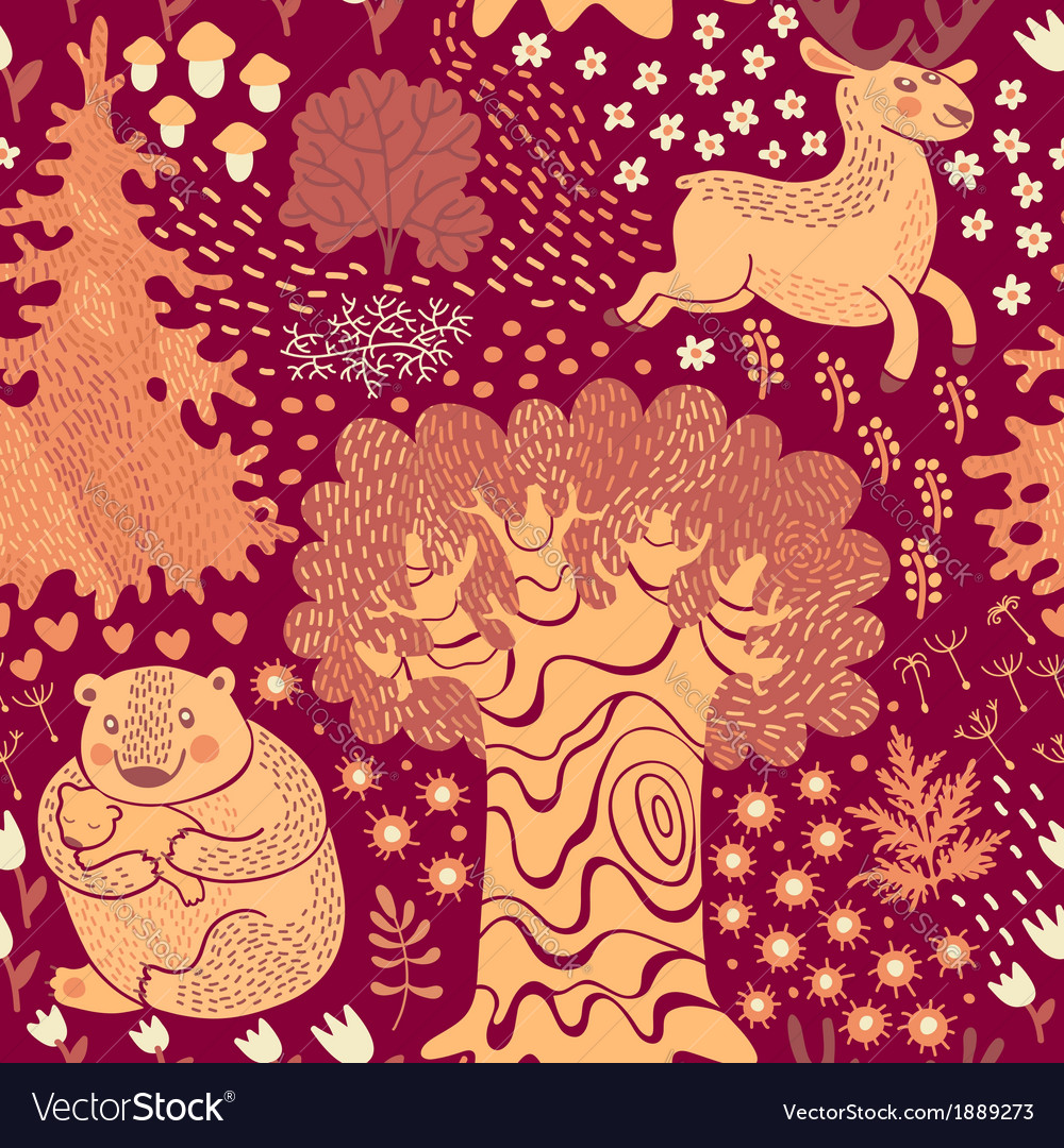 Seamless pattern with deer bears in the woods vector | Price: 1 Credit (USD $1)