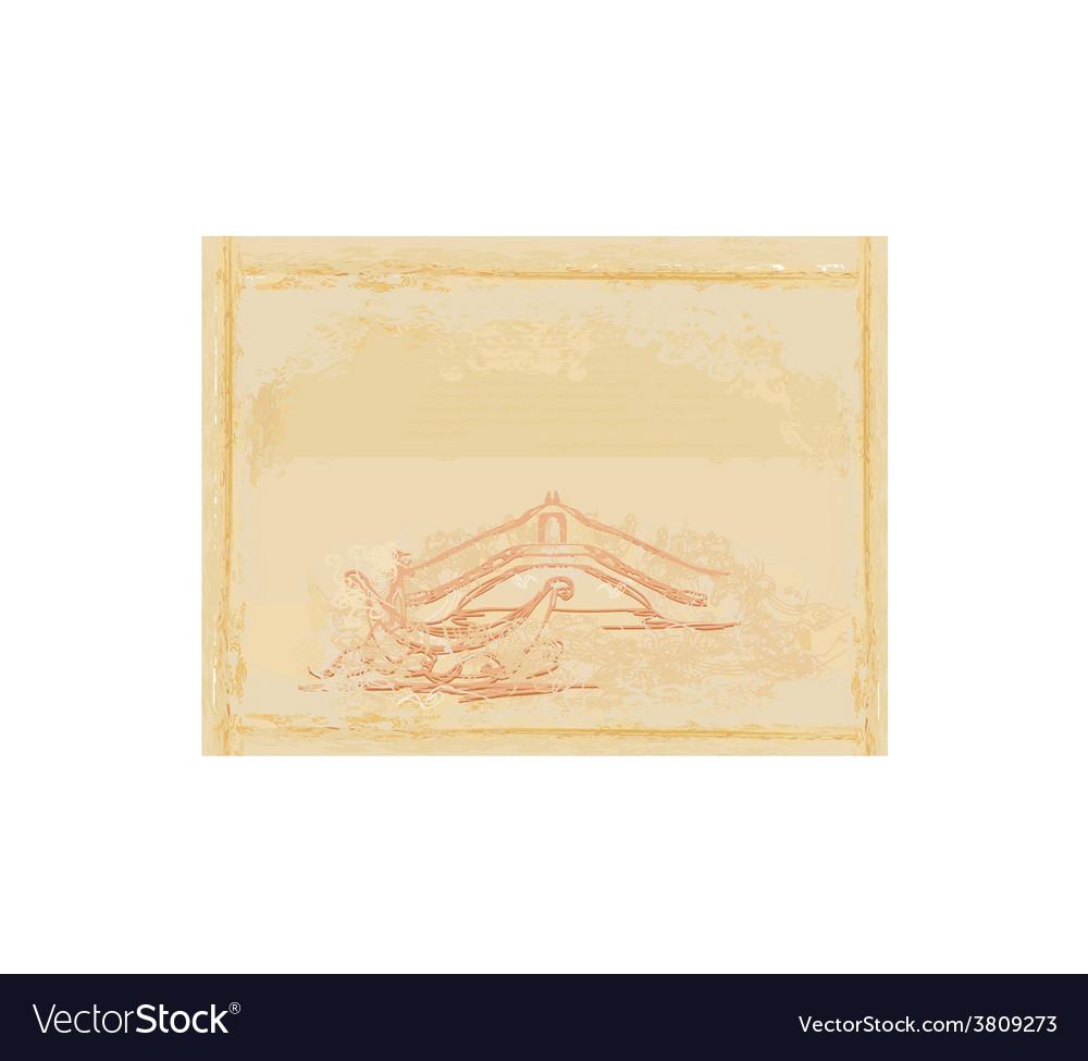 Venetian gondola retro style card vector | Price: 1 Credit (USD $1)