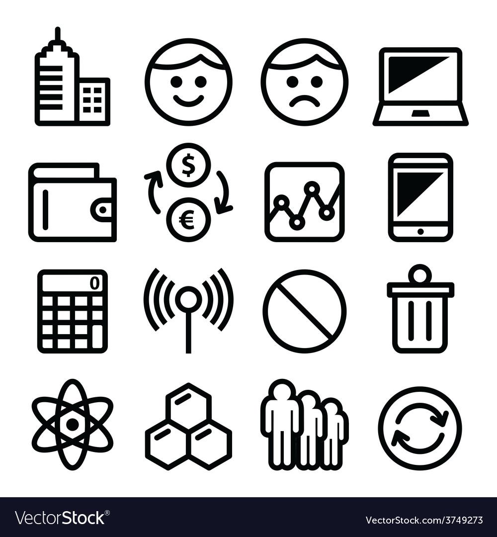 Web menu internet line stroke icons set - tech vector