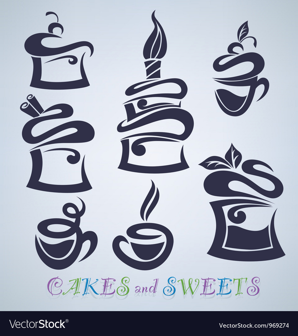 Cakes sweets and drinks silhouettes vector | Price: 1 Credit (USD $1)