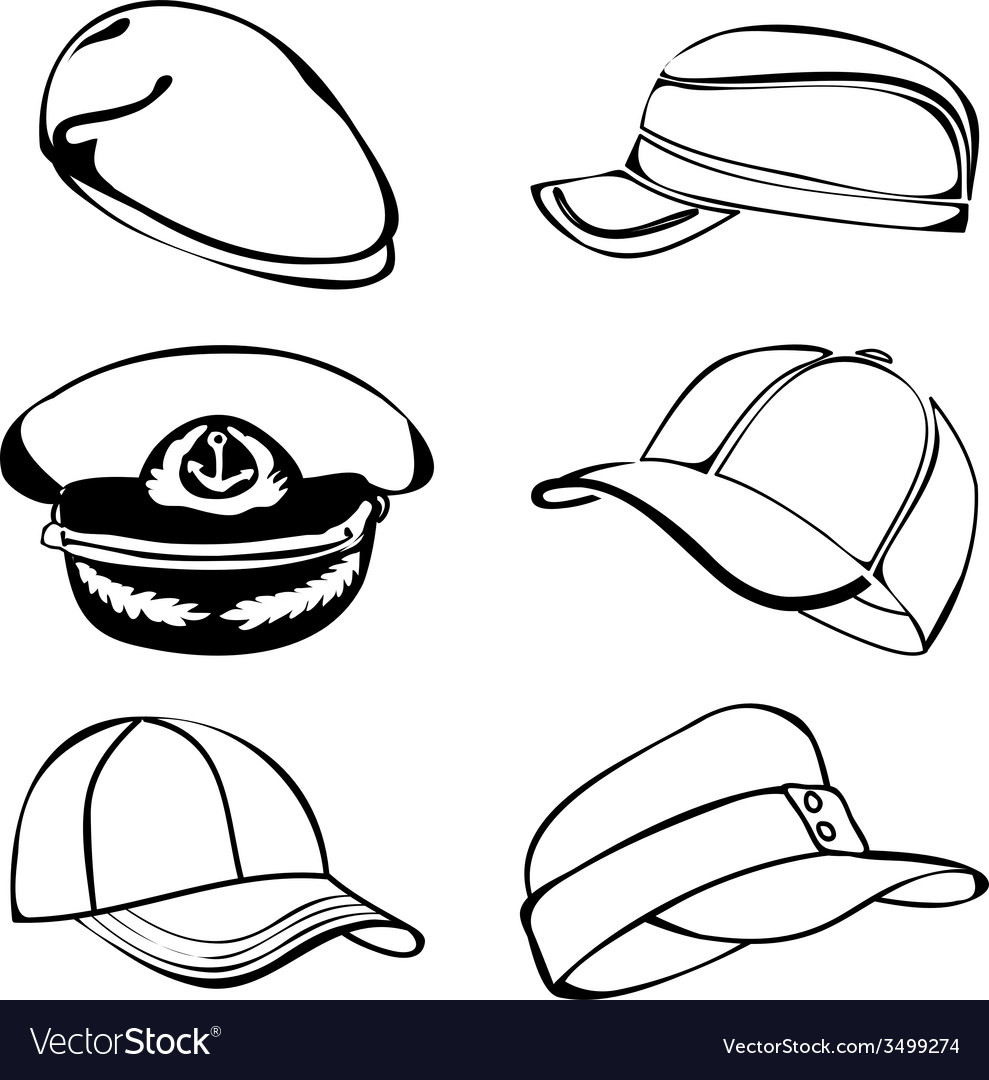 Cap set isolated on white black art vector | Price: 1 Credit (USD $1)
