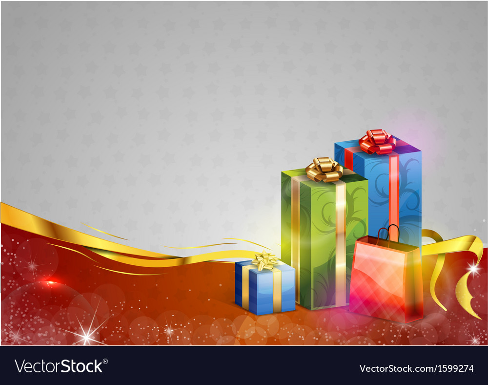 Christmas background two color gifts red vector | Price: 1 Credit (USD $1)