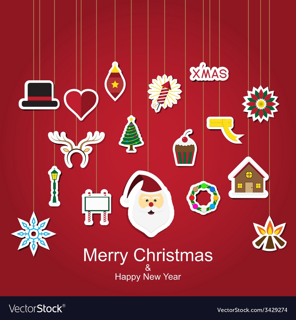 Christmas sticker icon hanging vector | Price: 1 Credit (USD $1)