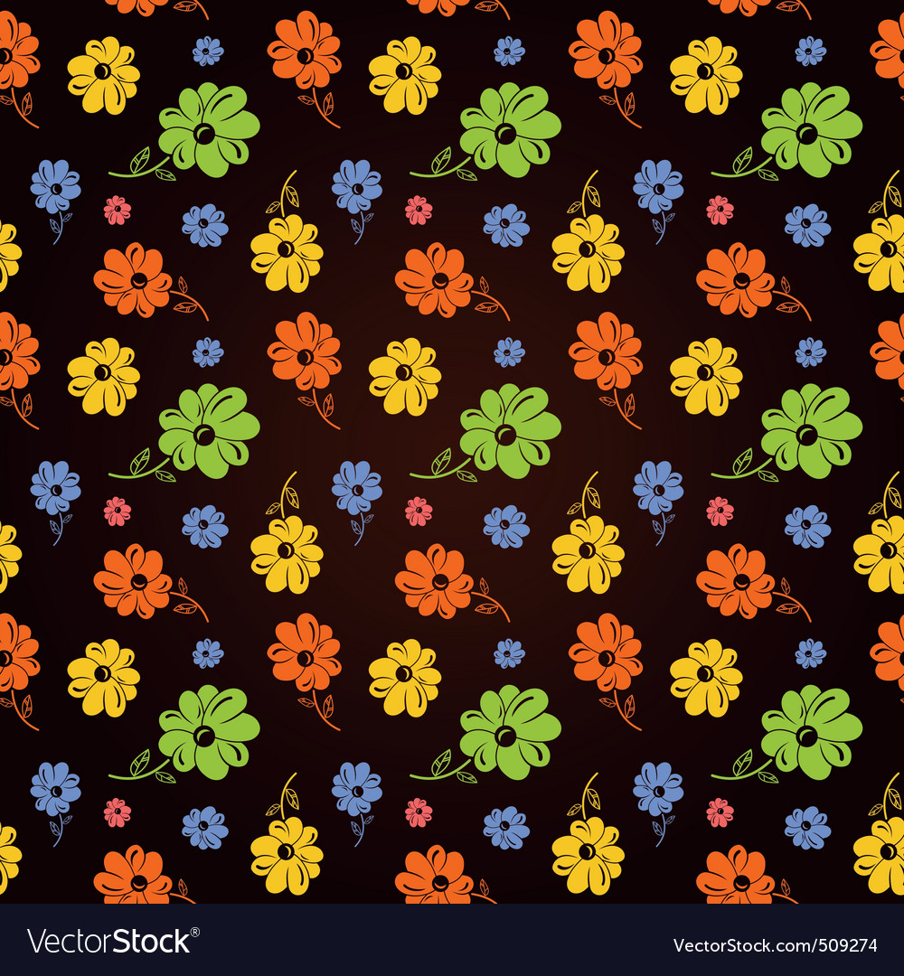 Colorful flowers seamless background black vector | Price: 1 Credit (USD $1)