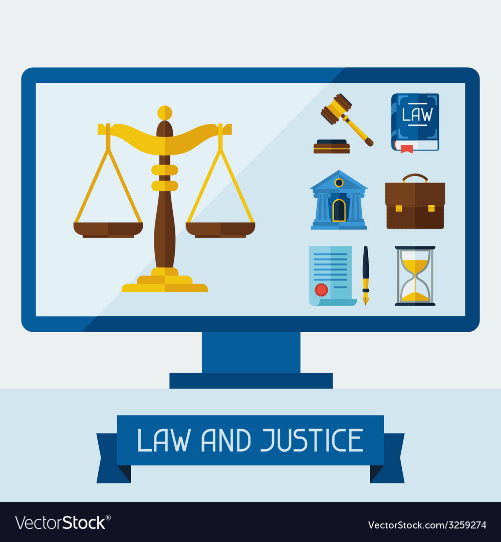 Concept with computer and law icons vector | Price: 1 Credit (USD $1)