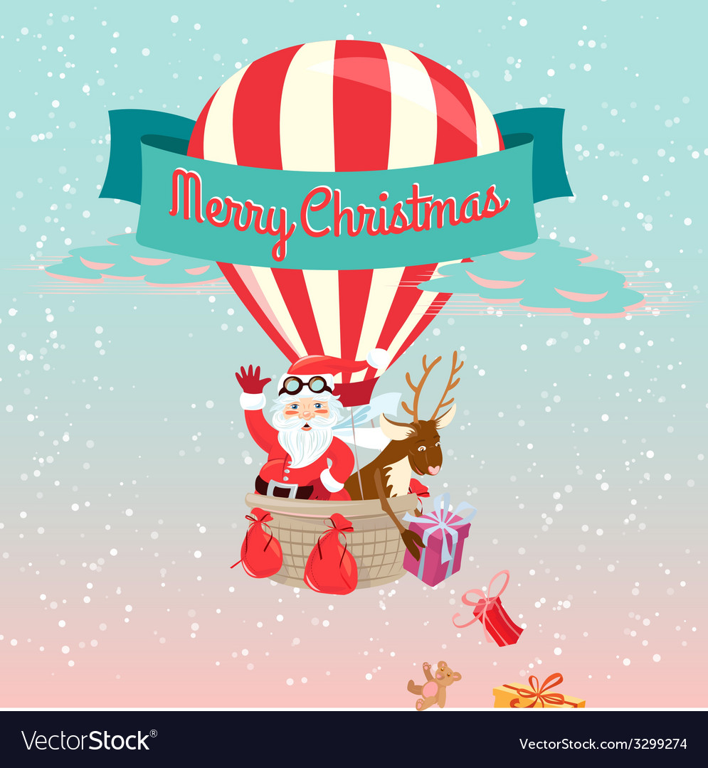 Festive merry christmas greeting card with santa vector   Price: 1 Credit (USD $1)