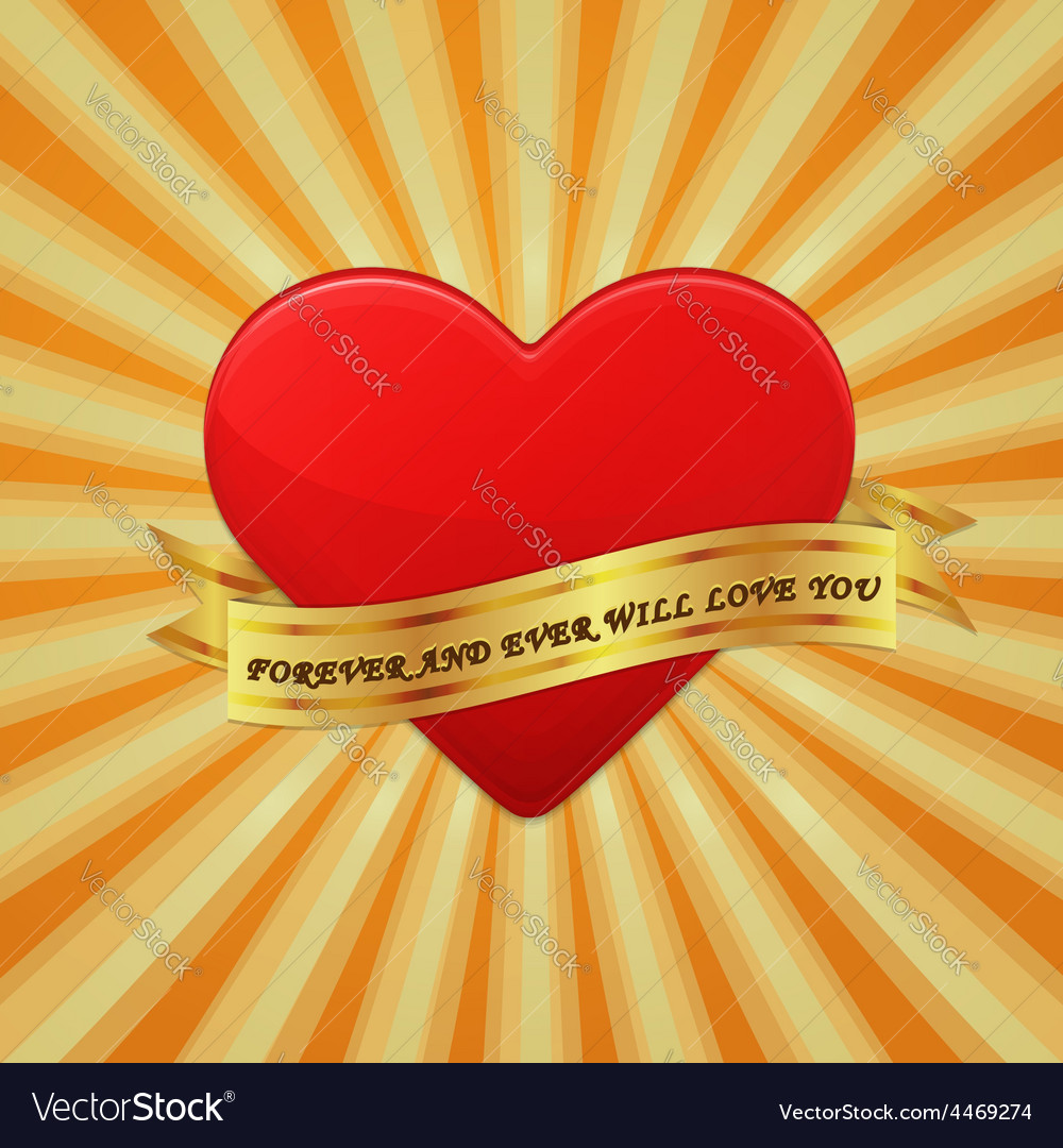 Heart with ribbon and phrase forever and ever will vector | Price: 1 Credit (USD $1)
