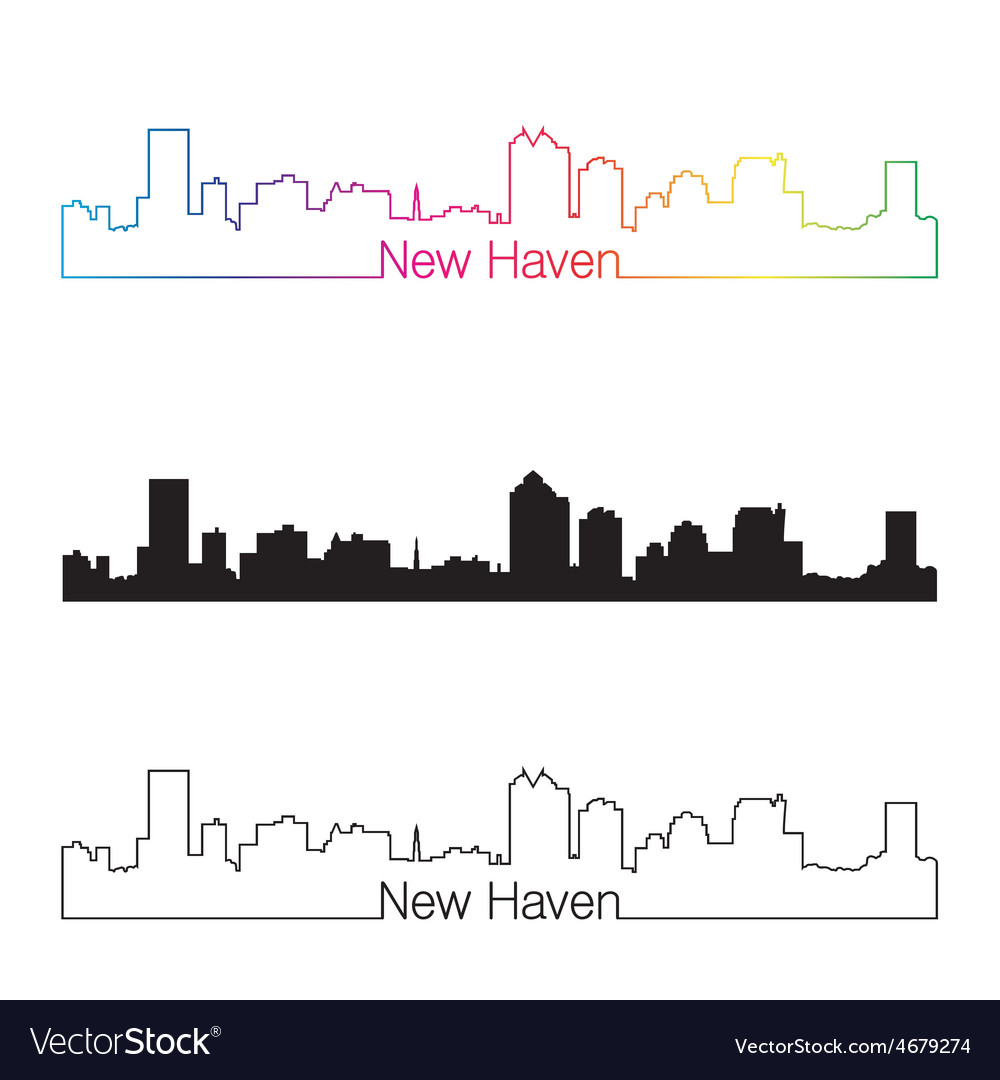 New haven skyline linear style with rainbow vector | Price: 1 Credit (USD $1)