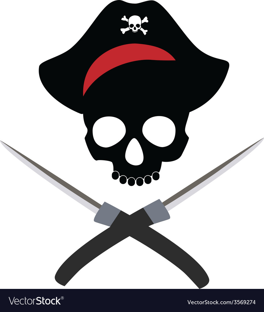 Pirate skull wit crossed daggers vector | Price: 1 Credit (USD $1)