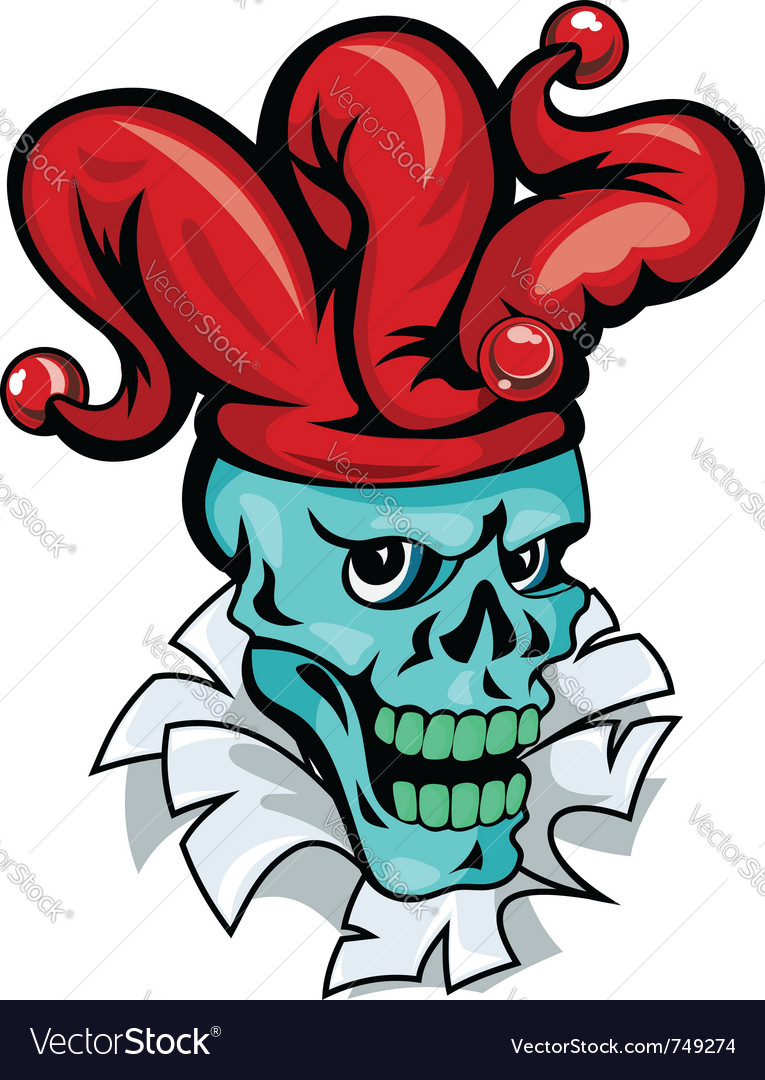 Skull joker cartoon vector