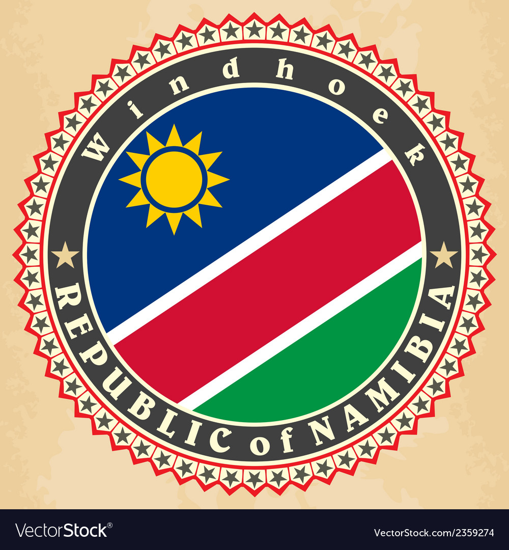 Vintage label cards of namibia flag vector | Price: 1 Credit (USD $1)