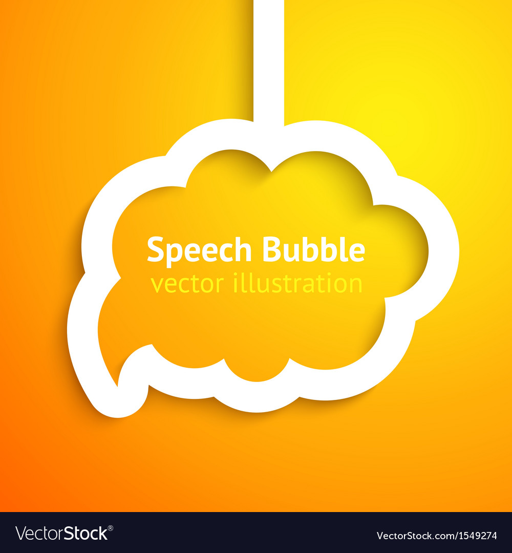 White paper cloud speech bubble on orange vector | Price: 1 Credit (USD $1)