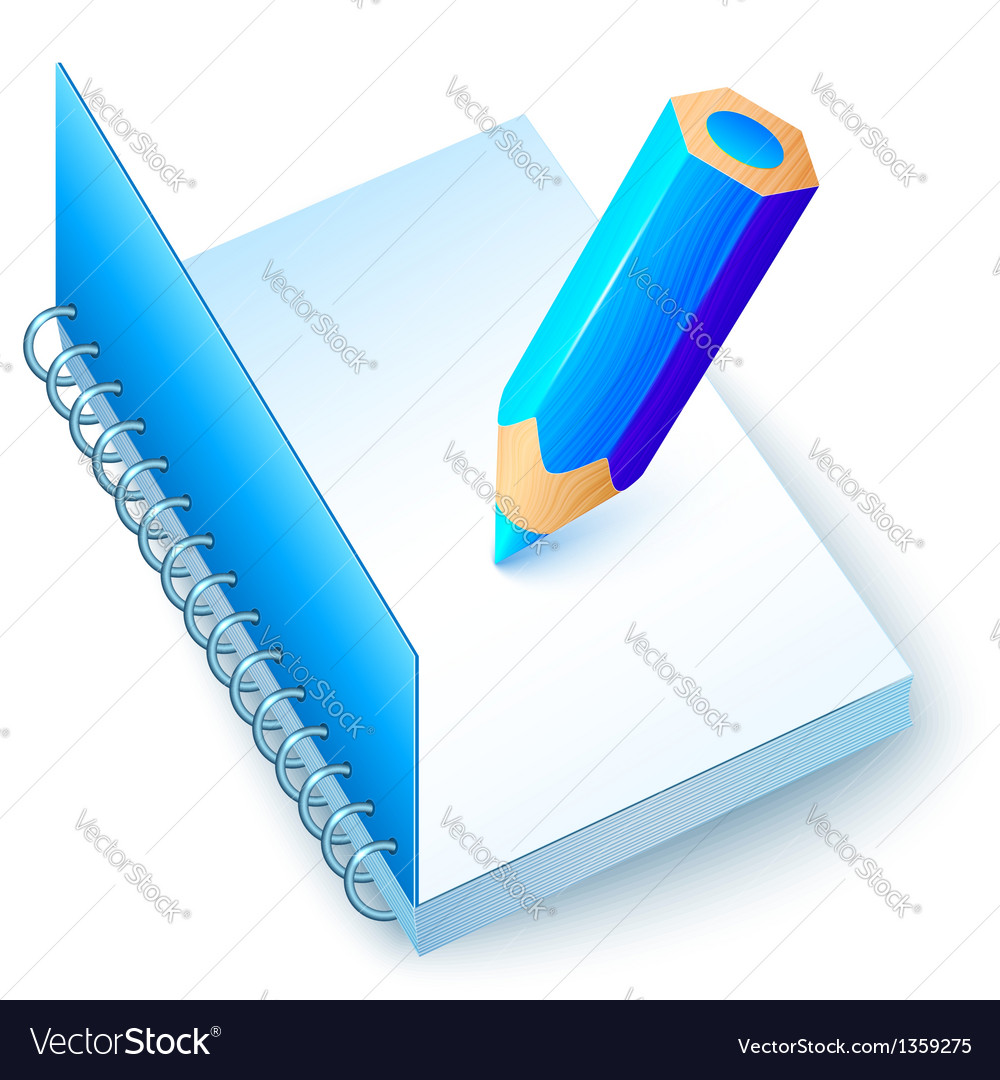 Blue notebook with colored pencil vector | Price: 1 Credit (USD $1)