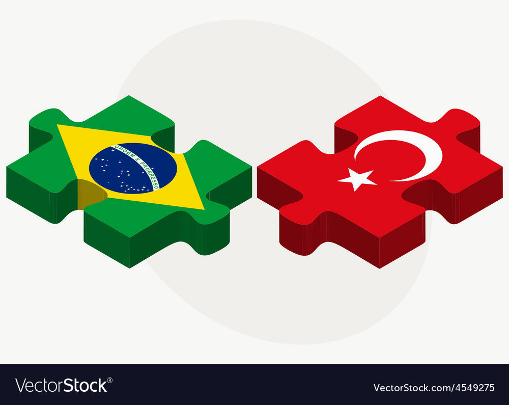 Brazil and turkey flags in puzzle isolated vector | Price: 1 Credit (USD $1)