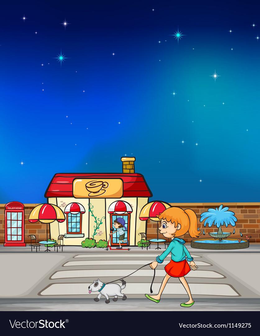 Cartoon girl with dog vector | Price: 1 Credit (USD $1)