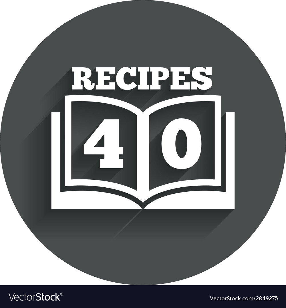 Cookbook sign icon 40 recipes book symbol vector | Price: 1 Credit (USD $1)