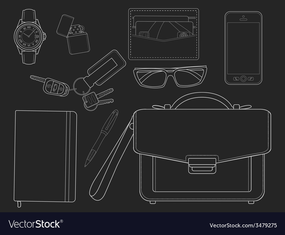 Every day carry man items businessman chalkboard vector | Price: 1 Credit (USD $1)