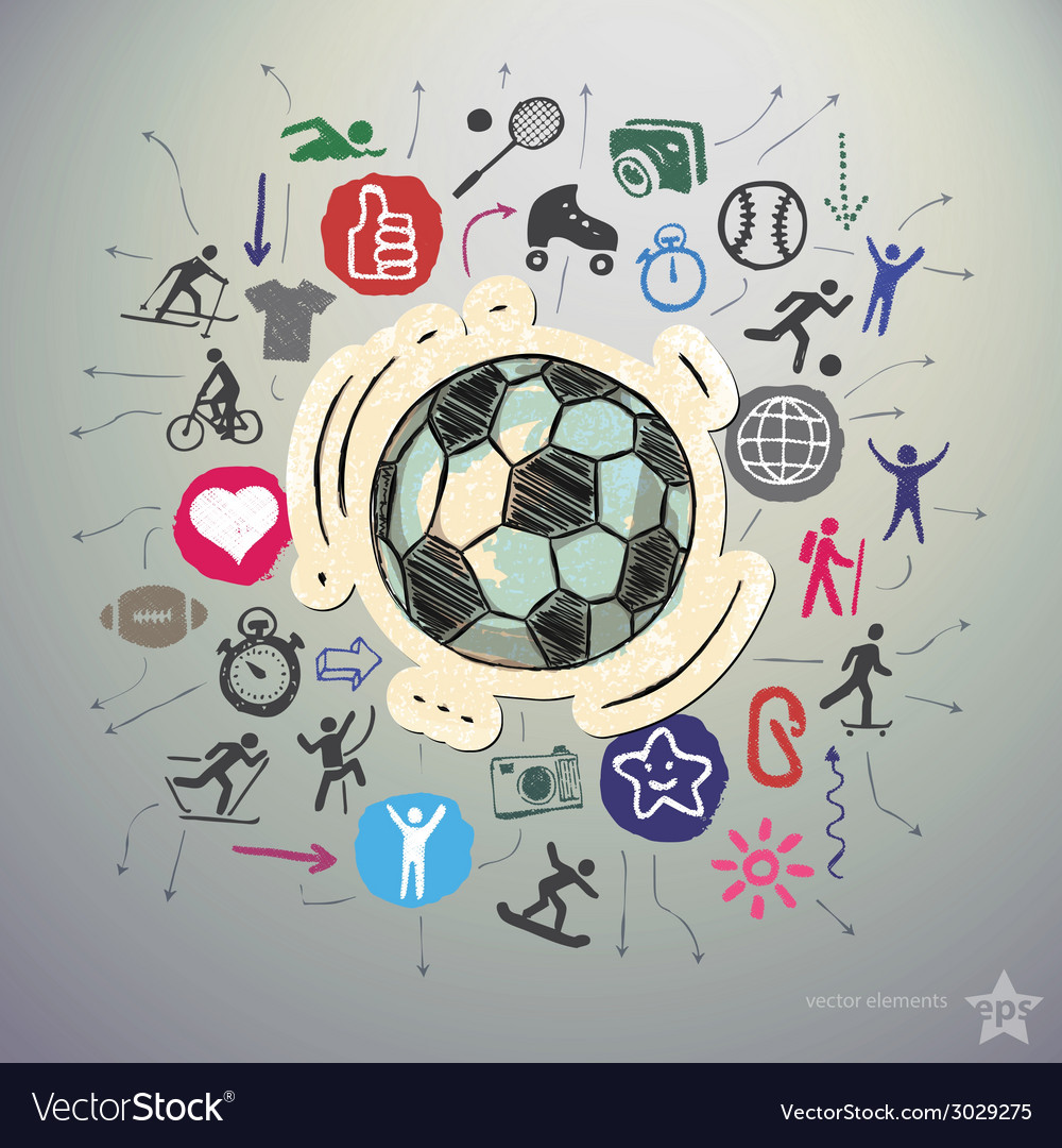 Hand drawn sport icons set and sticker with soccer vector | Price: 1 Credit (USD $1)