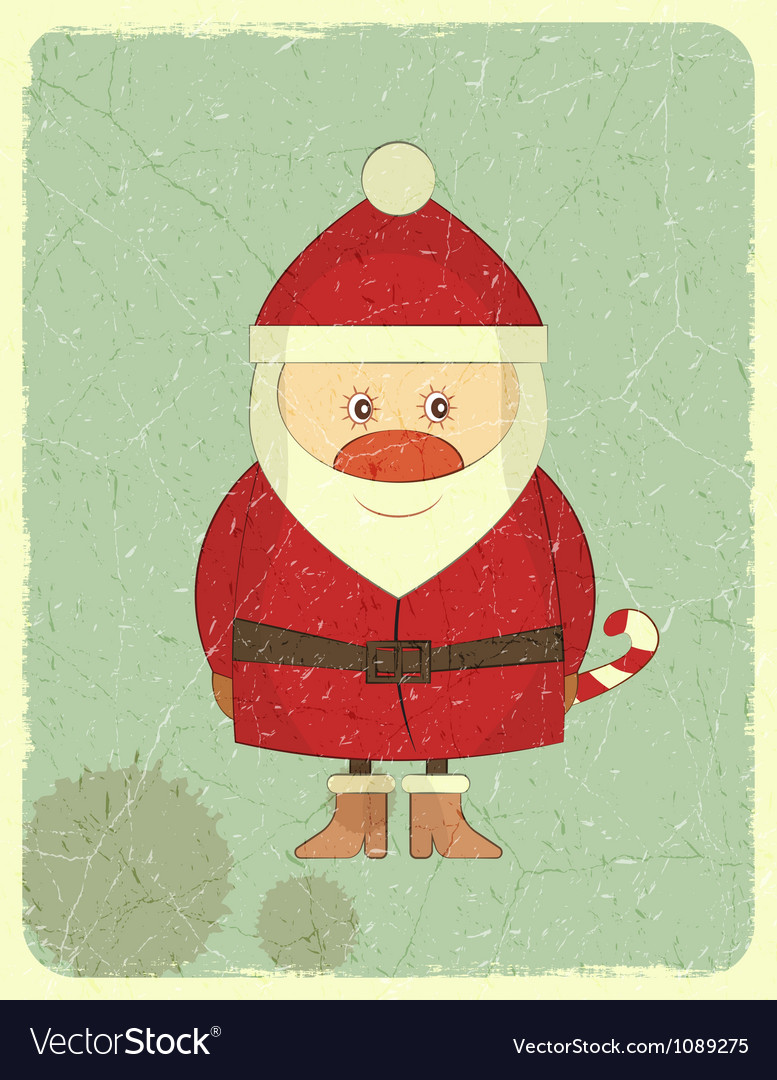 Merry christmas vintage card with santa claus vector | Price: 1 Credit (USD $1)