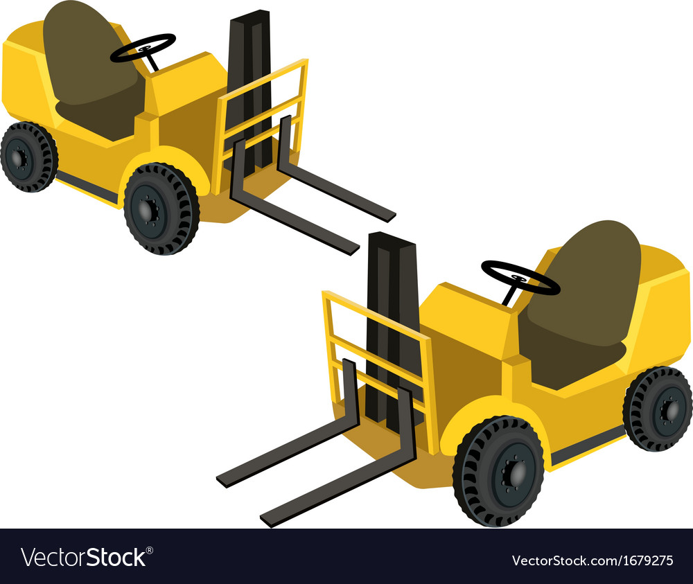 Two powered industrial forklift trucks vector | Price: 1 Credit (USD $1)