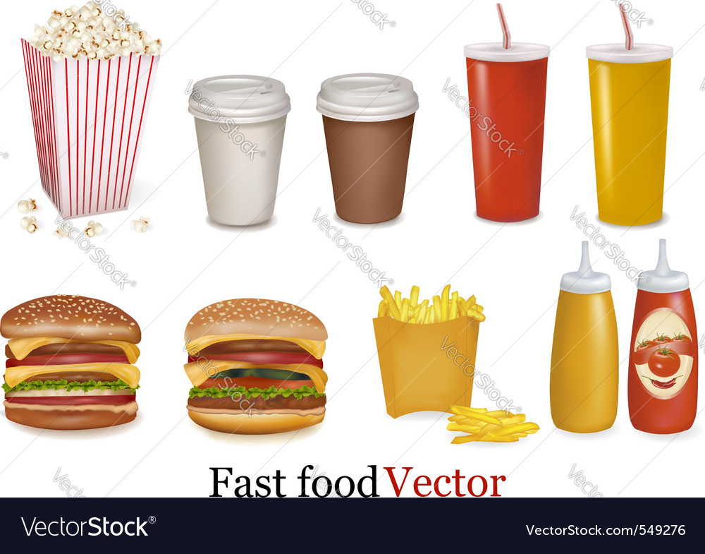 Big group of fast food product vector | Price: 3 Credit (USD $3)