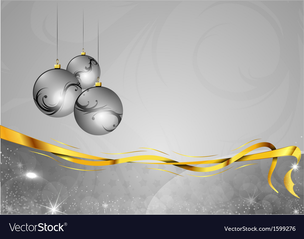 Christmas background two color silver gifts balls vector | Price: 1 Credit (USD $1)