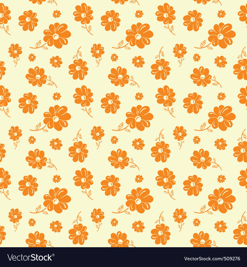 Colorful flowers seamless background orange vector | Price: 1 Credit (USD $1)