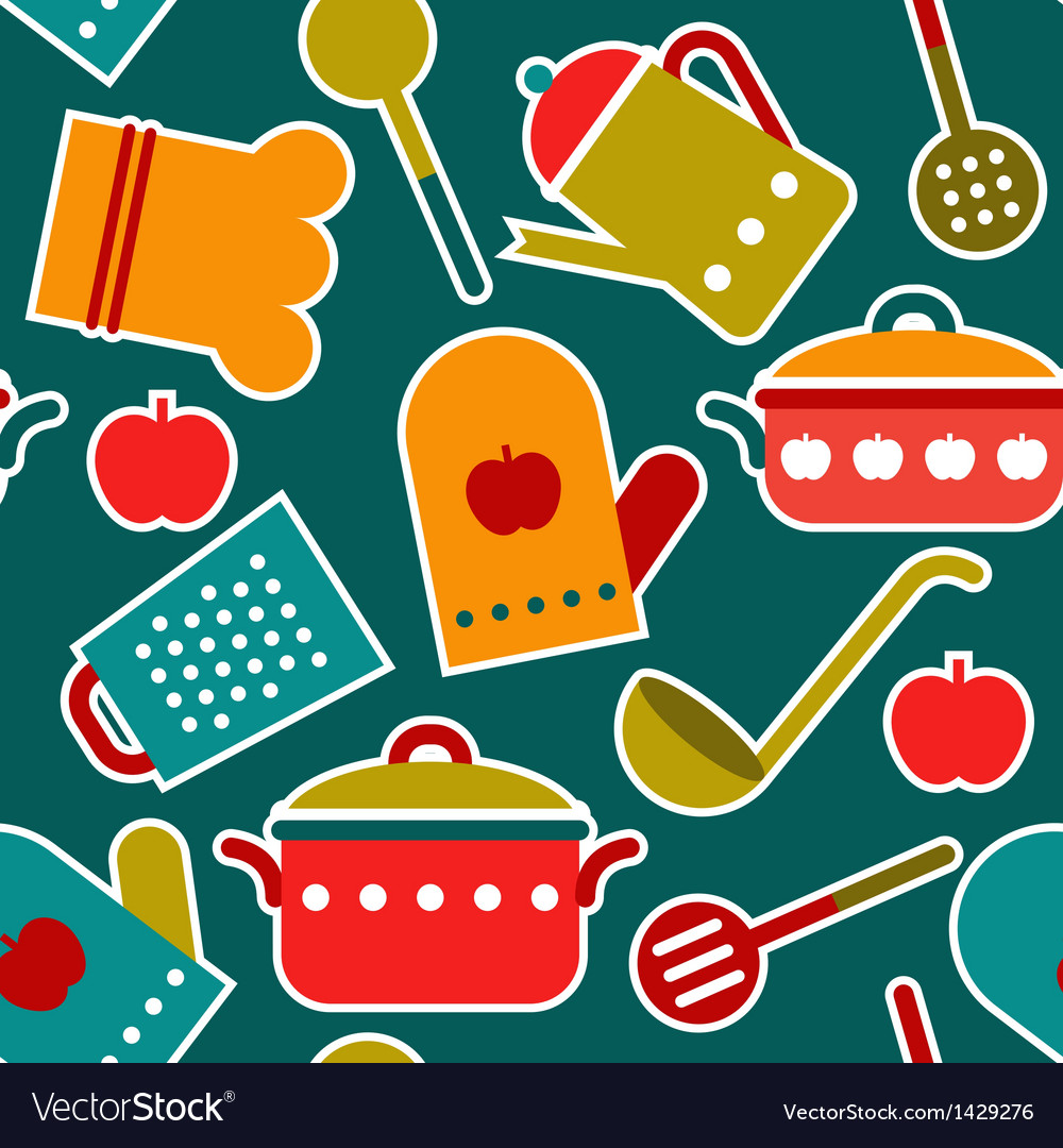 Colorful seamless pattern of kitchen utensil vector | Price: 3 Credit (USD $3)