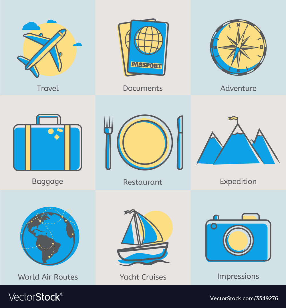Flat line tourism icons set modern design style vector | Price: 1 Credit (USD $1)