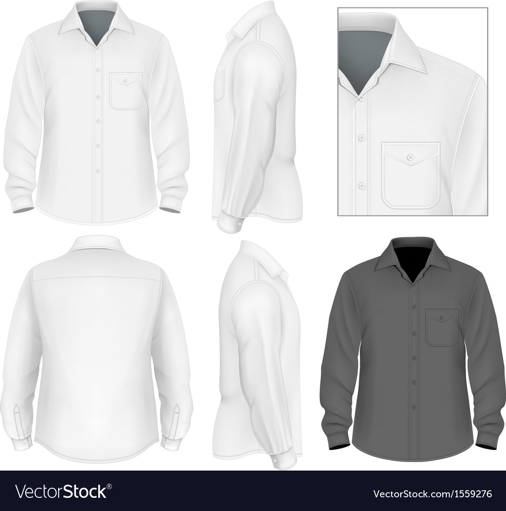 Mens button down shirt long sleeve design template vector | Price: 1 Credit (USD $1)