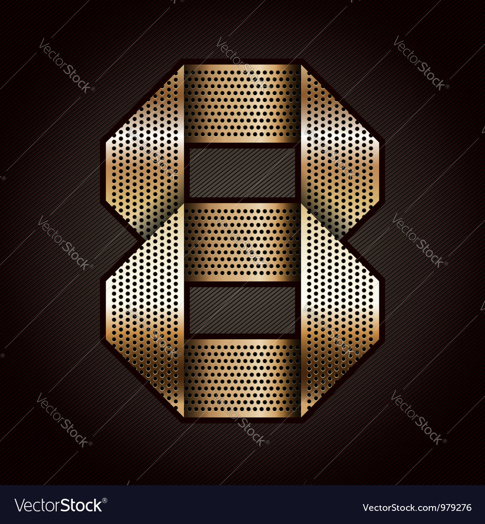 Number metal gold ribbon - 8 - eight vector | Price: 1 Credit (USD $1)