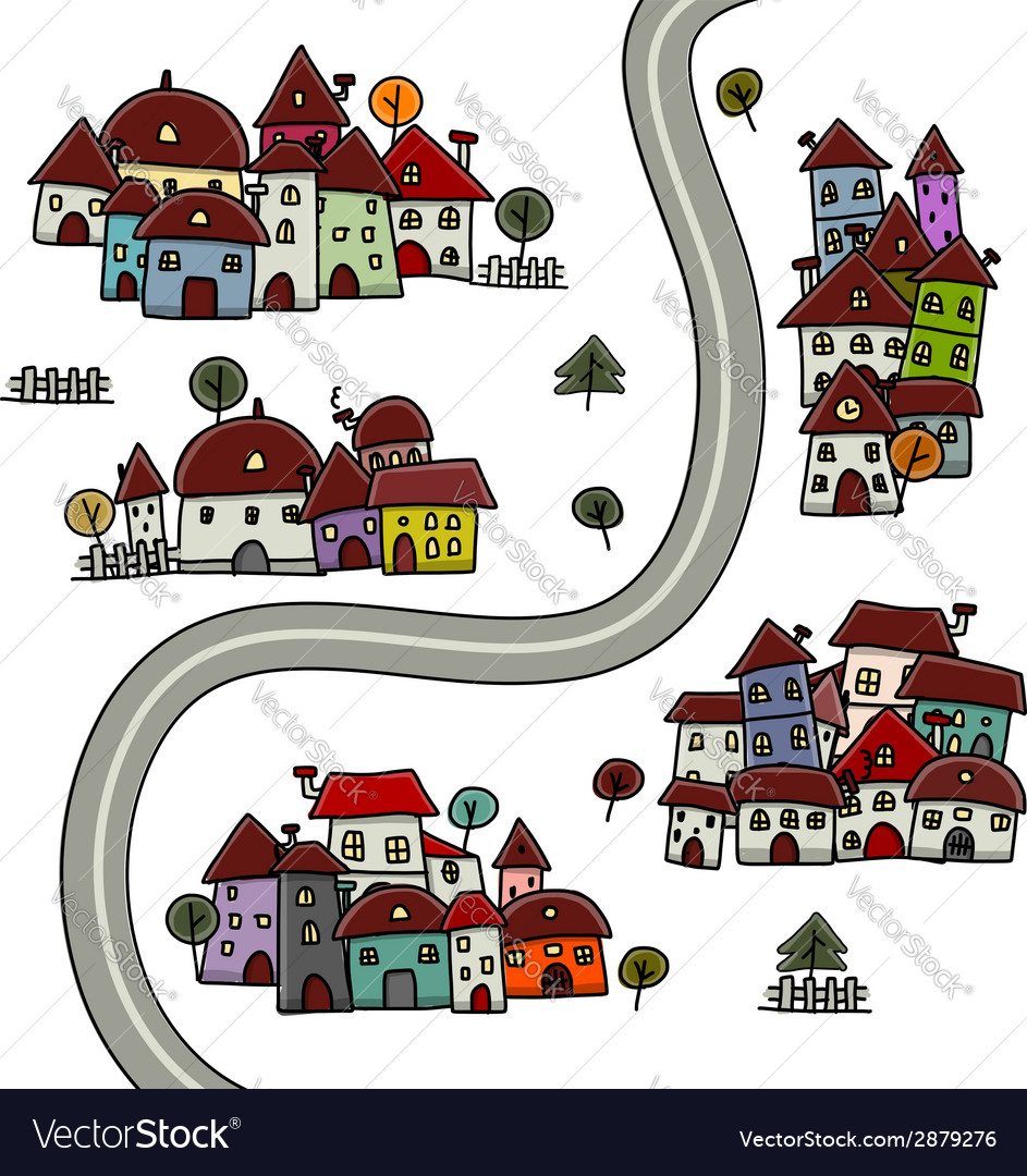 Road and houses cityscape cartoon for your design vector | Price: 1 Credit (USD $1)