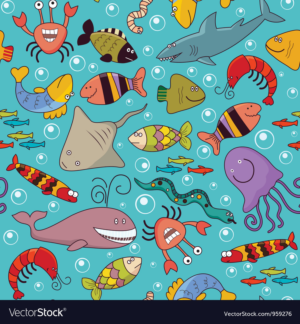Seamless underwater wildlife vector | Price: 3 Credit (USD $3)
