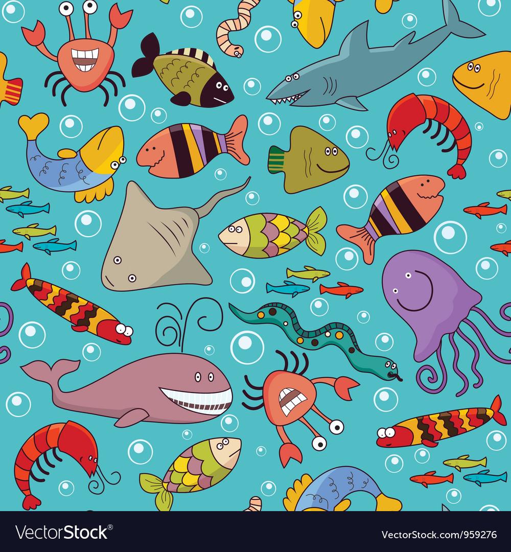 Seamless underwater wildlife vector | Price: 3 Credit (USD $3)