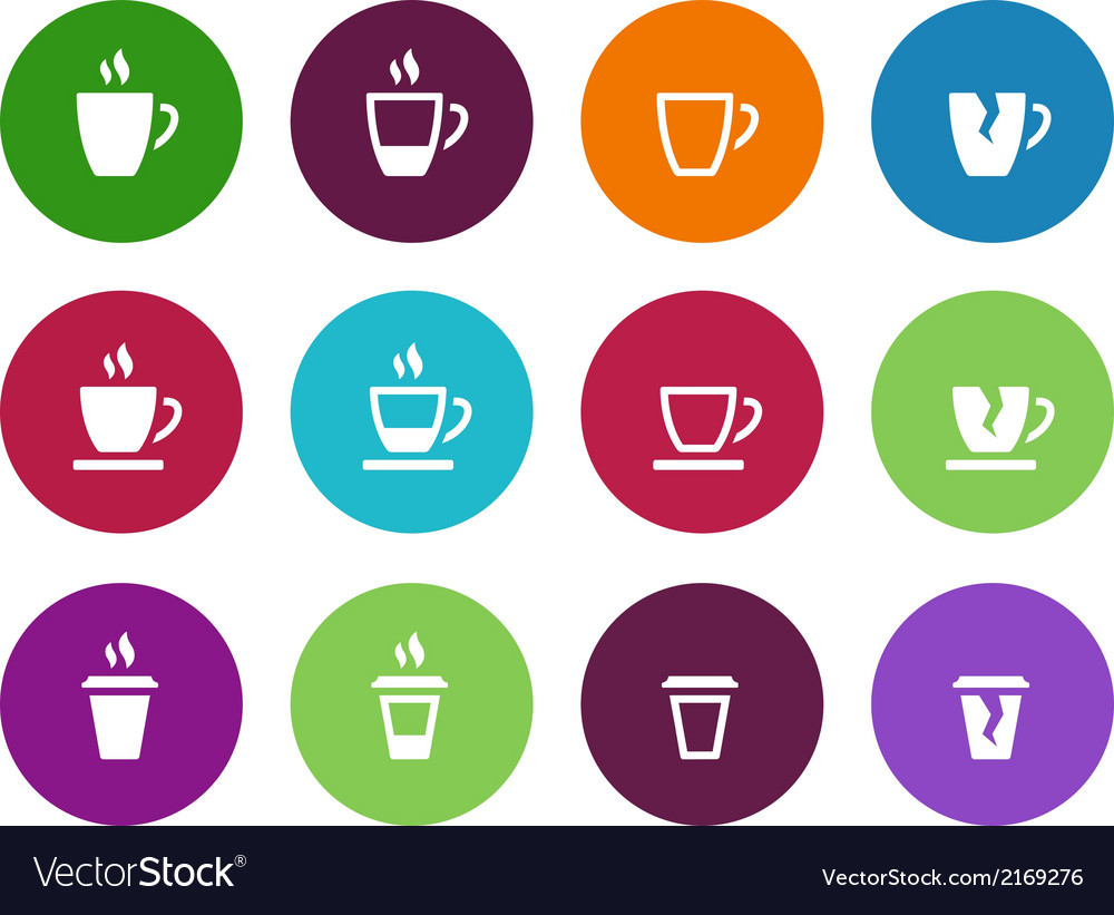 Set of coffee cup circle icons vector   Price: 1 Credit (USD $1)