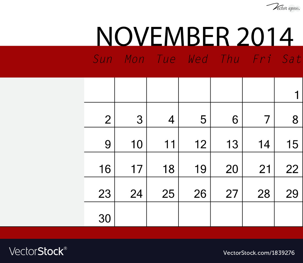 Simple 2014 calendar november vector | Price: 1 Credit (USD $1)