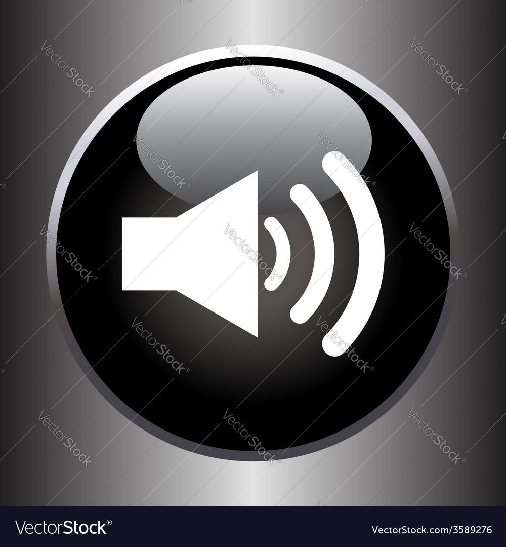 Speaker volume icon on black glass button vector | Price: 1 Credit (USD $1)