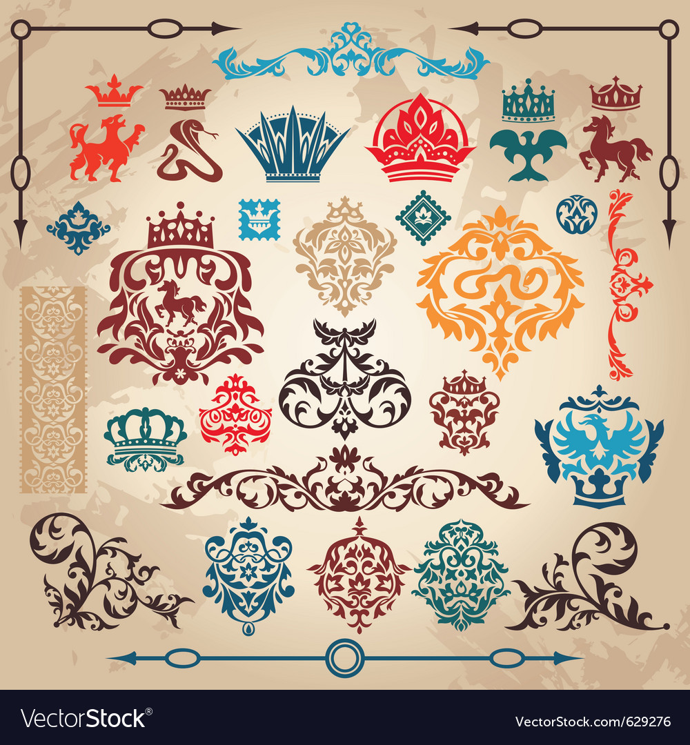Vintage heraldry elements vector | Price: 1 Credit (USD $1)