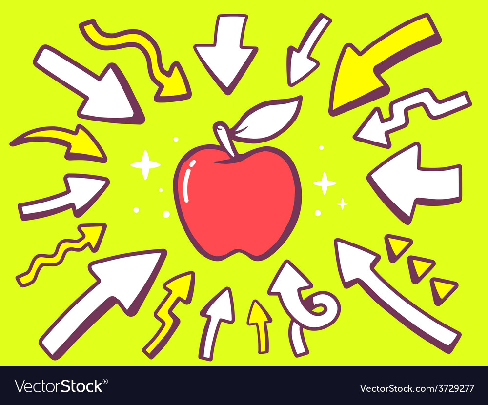 Arrows point to icon of red apple on gre vector | Price: 1 Credit (USD $1)