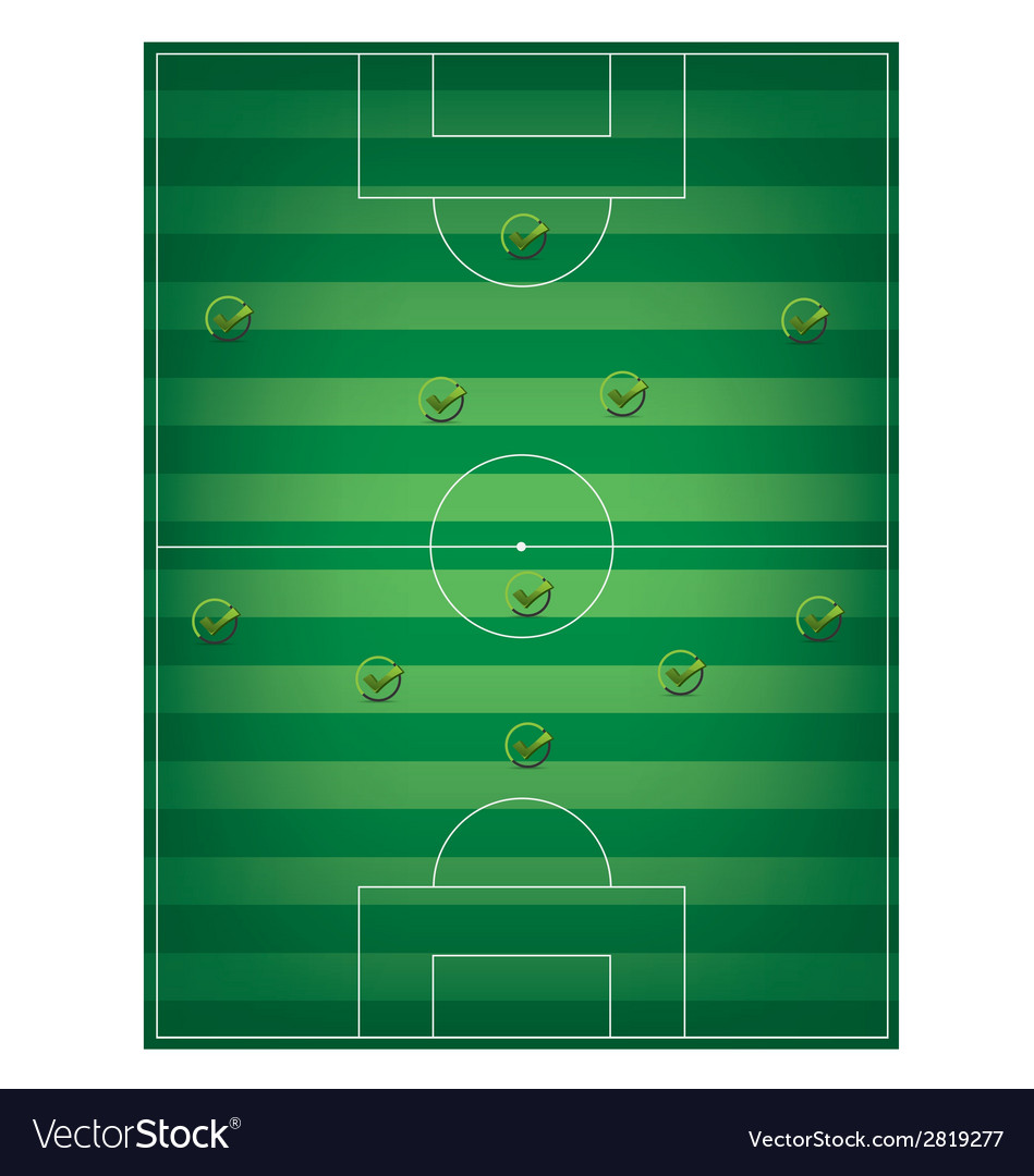 Football field and check mark vector | Price: 1 Credit (USD $1)