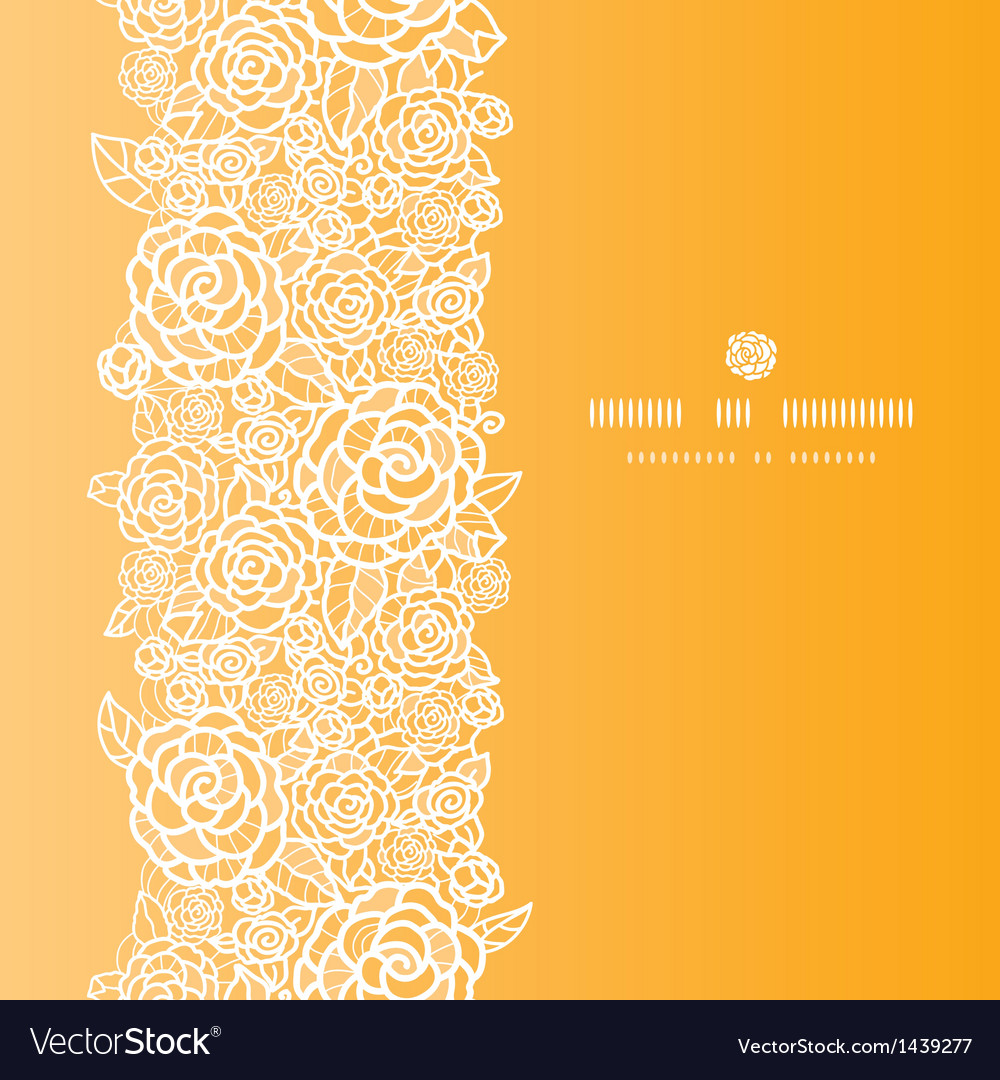 Golden lace roses vertical seamless pattern vector