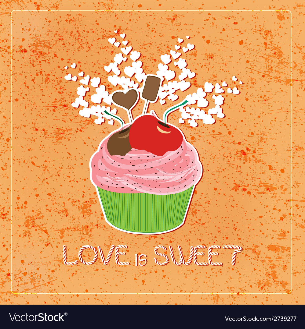 Love is sweet like cupcake vector | Price: 1 Credit (USD $1)