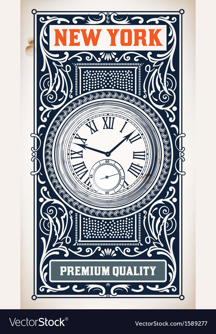 Old baroque card floral and watch details vector | Price: 1 Credit (USD $1)