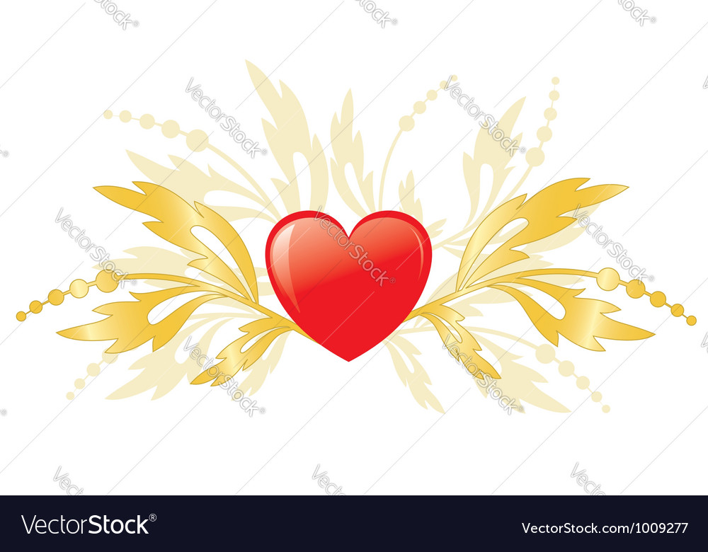 Red heart with golden plants as element for design vector | Price: 1 Credit (USD $1)