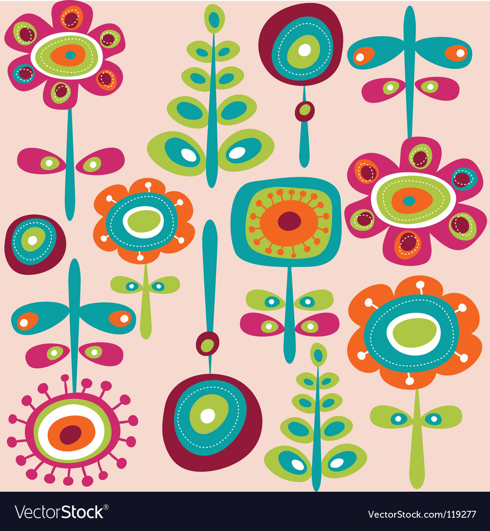 Retro flowers background vector | Price: 1 Credit (USD $1)