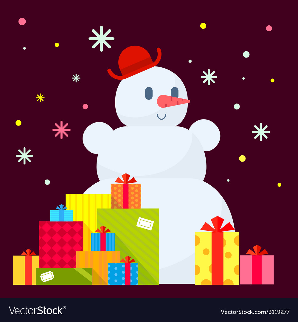Snowman and piles of presents on dark vector | Price: 1 Credit (USD $1)