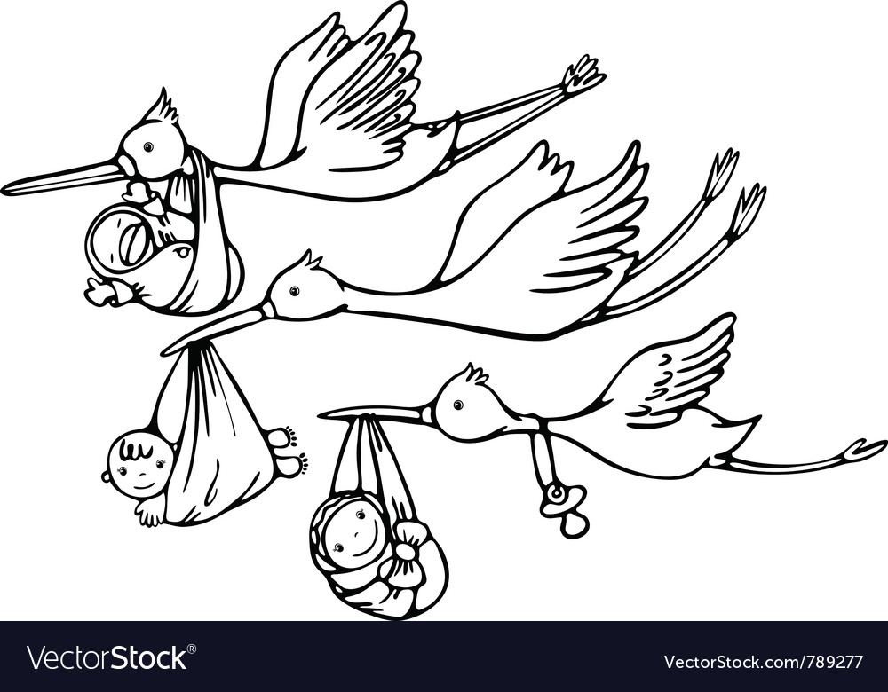 Stork and baby vector | Price: 1 Credit (USD $1)