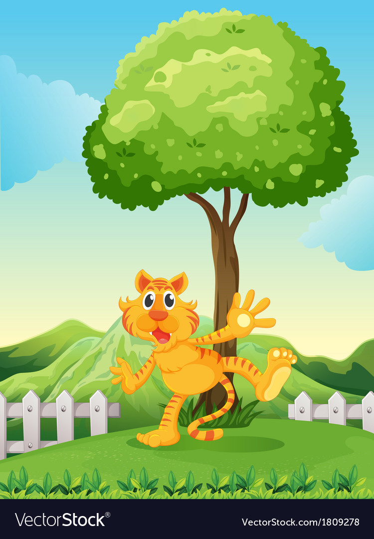 A playful tiger under the tree at the hilltop vector | Price: 1 Credit (USD $1)